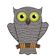 Cartoon Owl  Isolated on White Background. - stock illustration