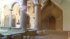 Ancient cloisters of monastery in Portugal. Stock Footage