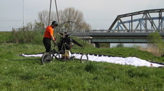 Preparations flyer. Bridges over the river. - stock footage