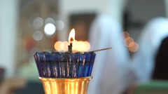 Burning icon-lamp during the Divine worship in an Orthodox Christian Church Stock Footage