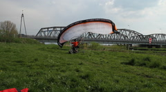Start paraglider. Preparations flyer. Ropes paraglider. Stock Footage