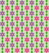 Floral pattern with pink and violet flowers on green background - stock illustration