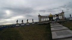Mongolian Monumental Complex in Steppes Beneath a Heavy Sky Stock Footage