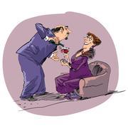 Date night man woman and wine - stock illustration
