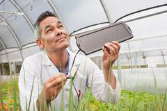 Mature man holding solar panel over plants in greenhouse Kuvituskuvat