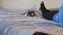 Beautiful girl leafing through the book and puppy Siberian Husky sleeping Stock Footage
