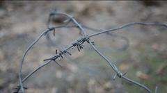 Barbed wire with sharp edges covering ground, symbol of captivity, imprisonment Stock Footage