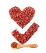 Tick mark and heart made of pepper Stock Photos