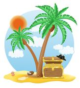 chest of gold standing under a palm tree vector illustration - stock illustration