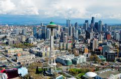Aerial view of space needle Seattle, Washington State, USA Kuvituskuvat