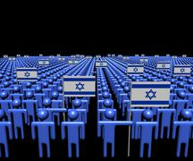 Crowd of abstract people with many Israeli flags illustration Stock Illustration