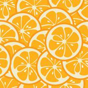 Cute seamless pattern with orange slices - stock illustration
