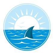 Shark logo illustration - stock illustration
