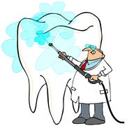 Dentist pressure washing a giant tooth - stock illustration