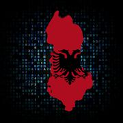 Albania map flag on hex code illustration - stock illustration