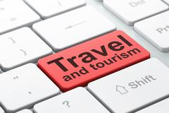 Tourism concept: Travel And Tourism on computer keyboard background Stock Illustration