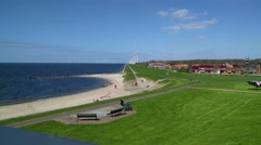 View from the village of Urk at the nearby offshore Windpark Stock Footage