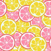 Seamless pattern with pink and yellow citrus - stock illustration