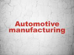Industry concept: Automotive Manufacturing on wall background - stock illustration