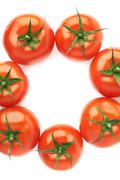 Multiple tomatoes aligned in a circle - stock photo