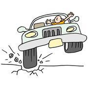 Car hitting a pot hole. Stock Illustration