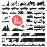 Illustration of transportation items. City transport Piirros