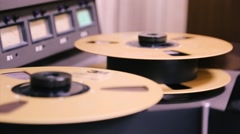 "24 track analog tape machine with 2"" reel to reel - MCI JH24 recording studio - stock footage"