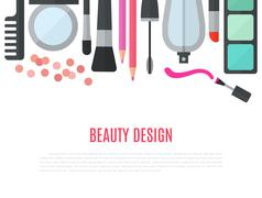 Make up concept flat illustration with cosmetics - stock illustration