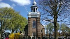 Church anno 1787, Kerkje aan Zee, with surrounding graveyard Stock Footage