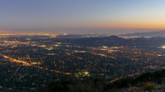 Los Angeles and Pasadena Sunset to Night Echo Mountain Time Lapse with Zoom In Stock Footage