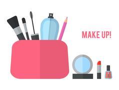 Make up concept flat illustration Stock Illustration