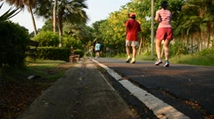 Many people jogging in park - stock footage