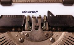 Saturday typography on a vintage typewriter - stock photo