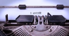 Vintage typewriter - I Quit, concept of quitting - stock photo