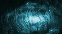 slow motion cascading sheet of water in cyan loop - stock footage