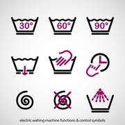 Electric washing machine functions & control symbols - stock illustration