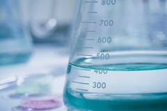 Numbers on conical flask, close up Stock Photos