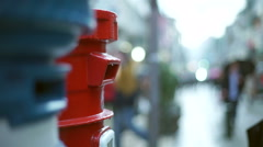 An post mail on a movemented street - stock footage