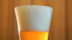 Beer mug light beer is on the table Stock Footage