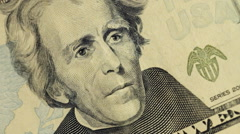 Cash money background. Andrew Jackson portrait on 20 US dollar bill close up Stock Footage