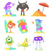 Monsters On The Beach Illustrations Set - stock illustration