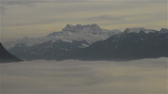 Alps and foggy lake Geneva Stock Footage