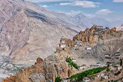 Dhankar gompa Buddhist monastery  in Himalayas - stock photo