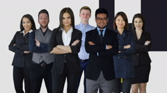Portrait of diverse group of business people standing together facing camera Stock Footage