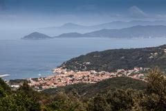 Distant view of  Marciana town, Elba Island, Italy Stock Photos