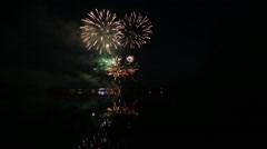 Fireworks by the lake 3 in 1 Stock Footage