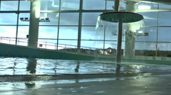 Water Park. The interior of the Aqua Park, Minsk. Fountain in the pool in front Stock Footage