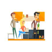 Stock Illustration of Office Team Relaxing