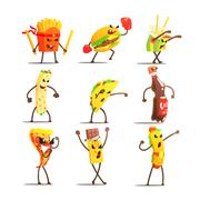 Fast Food Cartoon Characters Set - stock illustration