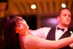 Young ballroom dancers, portrait Stock Photos